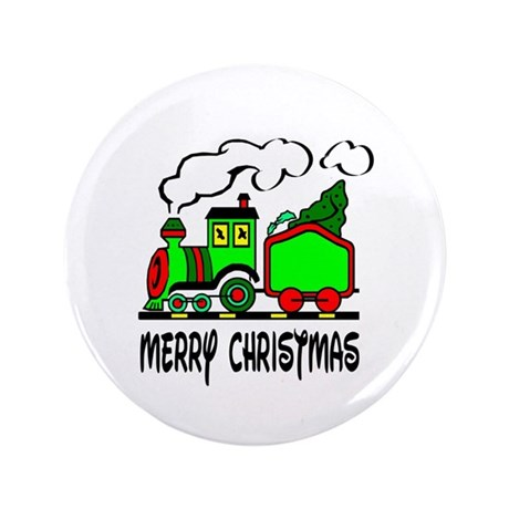 "Christmas Train 3.5"" Button"