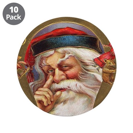 "Vintage Santa 3.5"" Button (10 pack)"