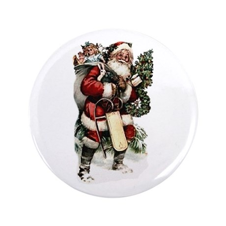 "Vintage Santa 3.5"" Button (100 pack)"
