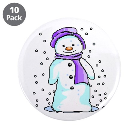 "Happy Snowman 3.5"" Button (10 pack)"