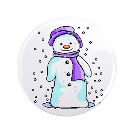 "Happy Snowman 3.5"" Button"