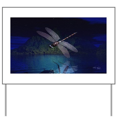Dragonfly at Night Yard Sign
