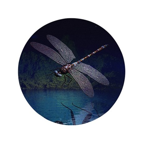 "Dragonfly at Night 3.5"" Button (100 pack)"