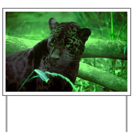 Black Jaguar Yard Sign