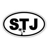 St. John's STJ Palm Trees Oval Decal