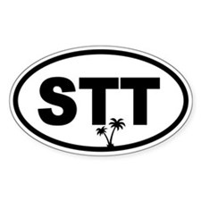 St. Thomas STT Palm Trees Oval Decal