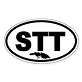 St. Thomas STT Map Oval Decal