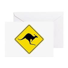 Kangaroo Crossing, Australia Greeting Cards (Pk of