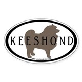 Keeshond Dog & Text (inner border) Oval Decal