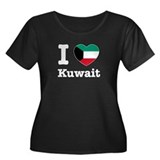 I love Kuwait Women's Plus Size Scoop Neck Dark T-