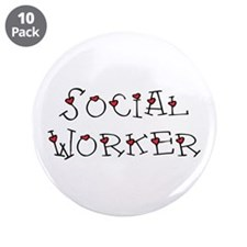 "Social Worker Hearts 3.5"" Button (10 pack)"