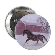 "Let It Snow! Christmas Horse Barn 2.25"" Button"
