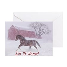 Let It Snow! Christmas Horse Barn Greeting Cards (