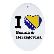 I love Bosnia and Herzegovina Oval Ornament