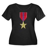 Bronze Star Women's Plus Size Scoop Neck Dark Tee