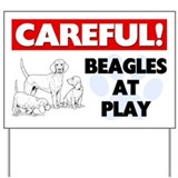 Careful Beagles At Play Yard Sign
