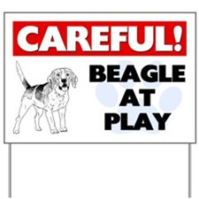 Careful Beagle At Play Yard Sign