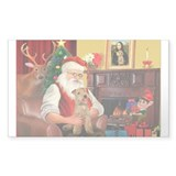 Santa/Lakeland Terrier Rectangle Decal