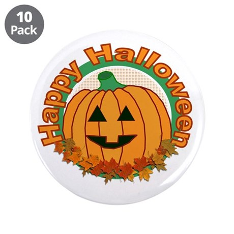 "Happy Halloween Pumpkin 3.5"" Button (10 pack)"