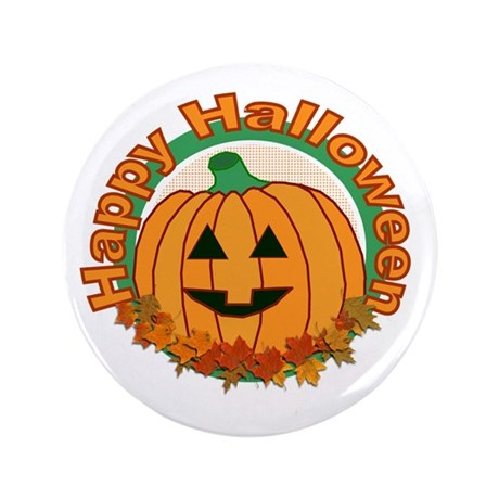 "Happy Halloween Pumpkin 3.5"" Button"