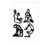 Four Black Yoga Figures Postcards (Package of 8)