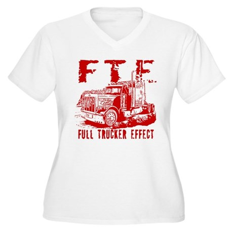 FTE - Red Women's Plus Size V-Neck T-Shirt