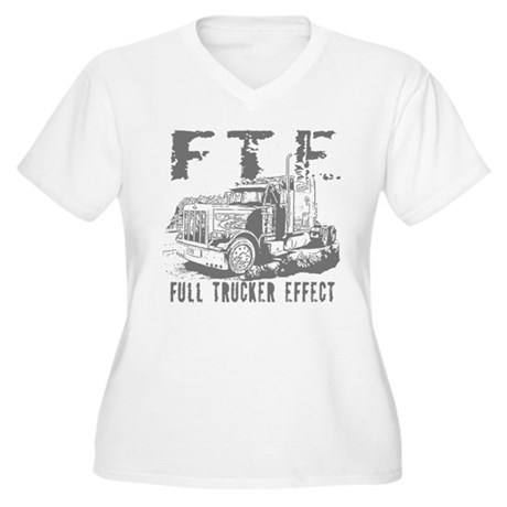 FTE - Grey Women's Plus Size V-Neck T-Shirt
