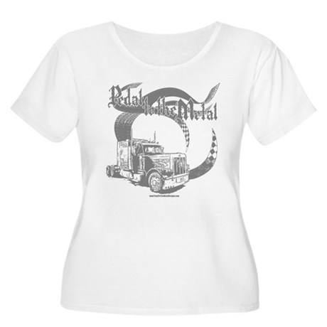PTTM-Trucker-Grey Women's Plus Size Scoop Neck T-S