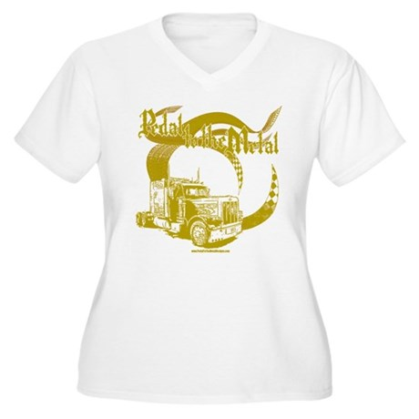 PTTM-Trucker-Tan Women's Plus Size V-Neck T-Shirt