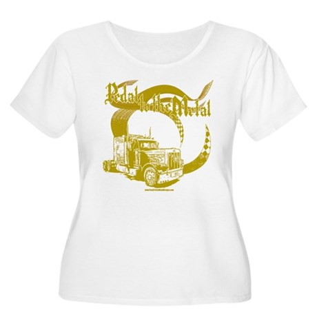 PTTM-Trucker-Tan Women's Plus Size Scoop Neck T-Sh