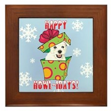 Holiday Westie Framed Tile