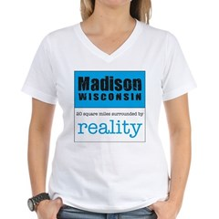 Madison Wisconsin surrounded Women's V-Neck T-Shi