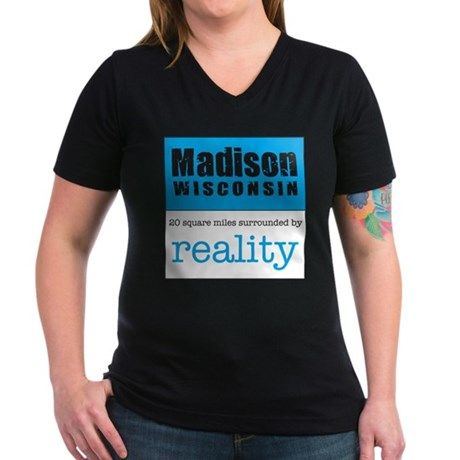 Madison Wisconsin surrounded Women's V-Neck Dark