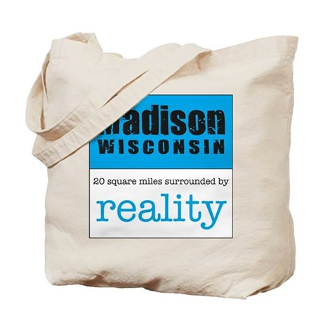 Madison Wisconsin surrounded Tote Bag logo on back
