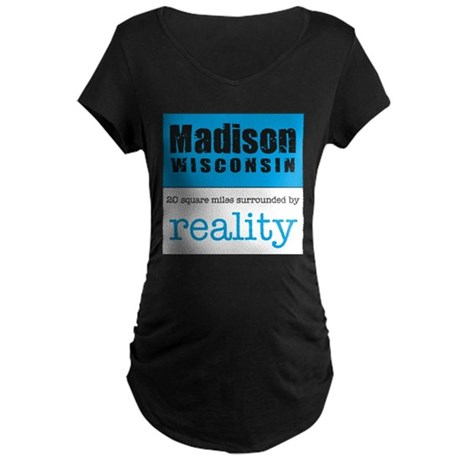Madison Wisconsin surrounded Maternity Dark T-Shi
