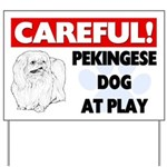 Careful Pekingese Dog At Play Yard Sign