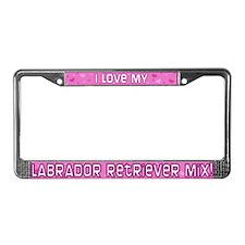 Pink Polka Dot Lab Mix License Plate Frame