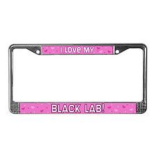 Pink Polka Dot Black Lab License Plate Frame