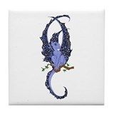 Perched Blue Dragonette Tile Coaster