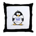 I'm the Boss Penguin Throw Pillow