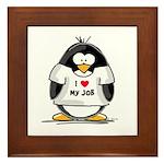 I Love My Job Penguin Framed Tile