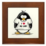 I Love My Job Penguin Framed Tile
