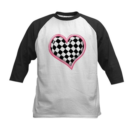 Racing Heart Pink Kids Baseball Jersey
