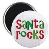 Santa Rocks Christmas Holiday Magnet