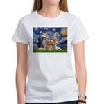 Starry Night Red Husky Pair Women's T-Shirt