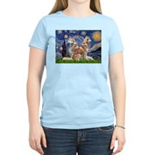 Starry Night Red Husky Pair T-Shirt