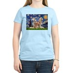 Starry Night Red Husky Pair Women's Light T-Shirt