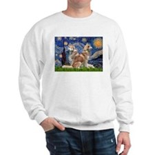 Starry Night Red Husky Pair Sweatshirt