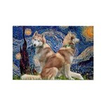 Starry Night Red Husky Pair Rectangle Magnet