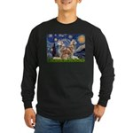 Starry Night Red Husky Pair Long Sleeve Dark T-Shi